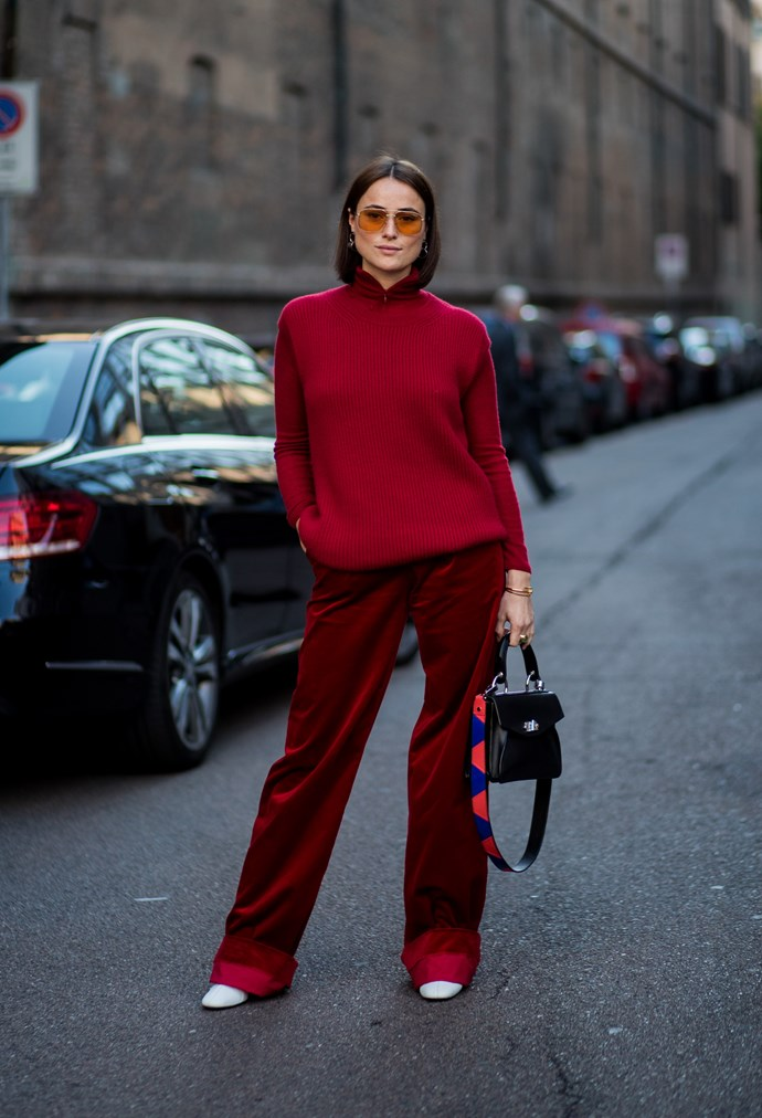 **Lady in red**<br><br>  Red has been the favoured hue of the fashion pack for a while now, but everyone really *went for it* this season, literally wearing the colour from head to toe.