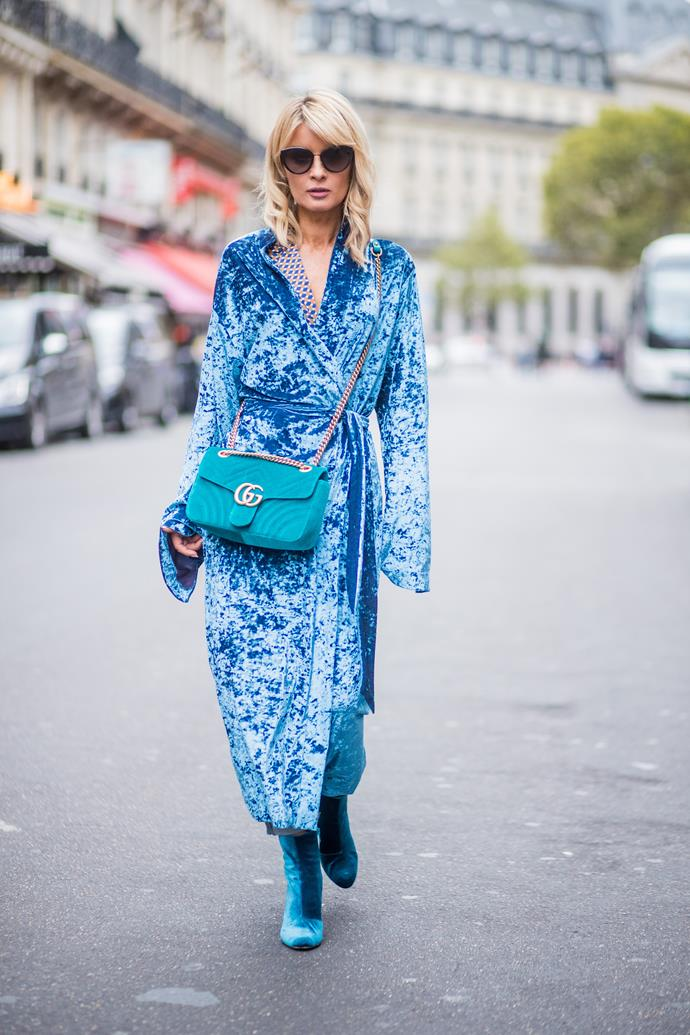 **She Wore Blue Velvet**<br><br>  And she looked *amazing* in it. Vibrant azure blue dresses in crushed velvet proved a surprising favourite among show-goers, proving the fabric had staying power.
