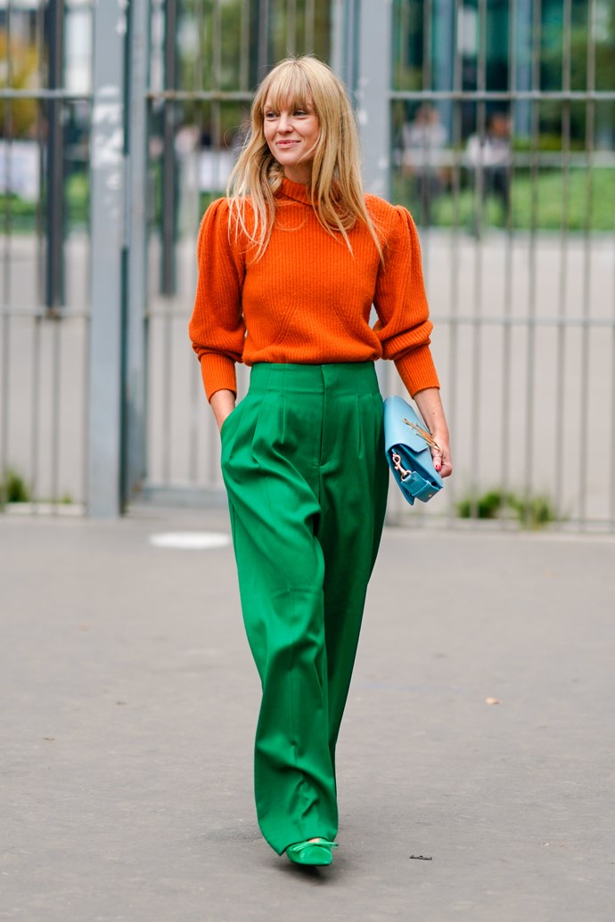 **Apples and oranges**<br><br>  Fresh new palette alert! Orange and green proved an unexpected colour combination at the shows this season—and the citrus tones are making us *very* amped for summer.