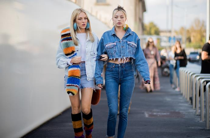 **Canadian tuxedo**<br><br>  It's very difficult to discuss double denim without conjuring a thought of Britney and Justin at the 2001 VMAs, but bear with us. Balenciaga's fresh new take on denim has made styling jeans and denim jackets feel innovative in cool, not passé. Honestly? We're convinced.