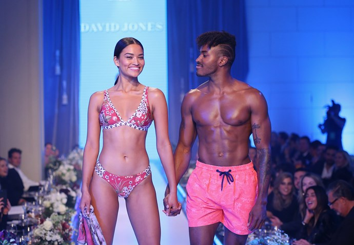 """Shanina wears the Miléa Scarlett Gardenia Fixed Tri Top, $119.95, Double Band Hipster Pant, $89.95 and 100% Silk Chiffon Sarong with tassel trims, $139.95, at [David Jones](http://search.davidjones.com.au/search?lbc=davidjones&method=and&p=Q&ts=custom&uid=661709714&w=milea&af=brand%3amilea