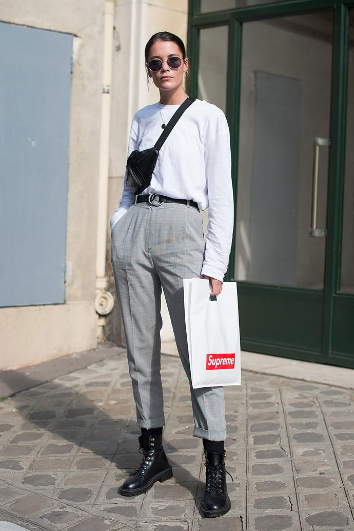 **Fanny packs**<br><br> Another '90s phase we thought we left behind. In every city of fashion month, you couldn't swing a Rejina Pyo dress without hitting someone wearing a fanny pack (sorry, *belted bag*) about their hips. Whether it's new-fangled Gucci iterations, or crinkly nylon throwbacks, the fanny pack is the perfect ugly-cool addition.