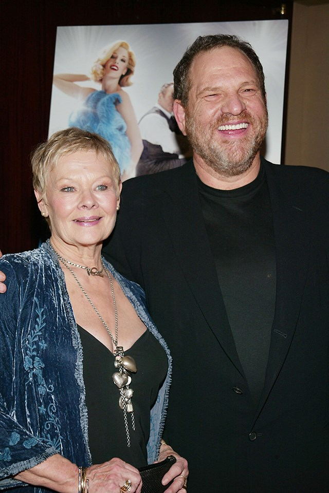 """**Judi Dench** <br><br> Dench, who worked with Weinstein on *Shakespeare in Love* and *Mrs. Brown*, credits the producer with launching her career—in fact, it was widely reported that she had a tattoo on her butt that read 'JD loves HW', however she has since clarified that it was a joke, and that she'd had a makeup artist draw it on for her meeting with Weinstein. <br><br> Dench said in a statement to [*Newsweek*](http://www.newsweek.com/exclusive-judi-dench-who-has-harvey-weinstein-tattoo-her-butt-says-sexual-680815), """"Whilst there is no doubt that Harvey Weinstein has helped and championed my film career for the past 20 years, I was completely unaware of these offenses which are, of course, horrifying, and I offer my sympathy to those who have suffered, and wholehearted support to those who have spoken out."""""""