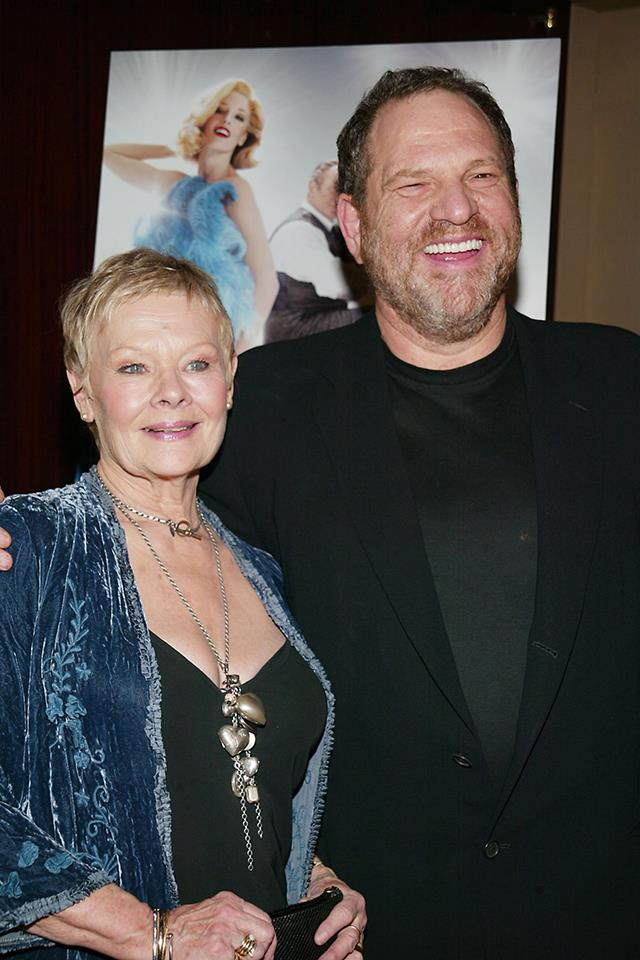 "**Judi Dench** <br><br> Dench, who worked with Weinstein on *Shakespeare in Love* and *Mrs. Brown*, credits the producer with launching her career—in fact, it was widely reported that she had a tattoo on her butt that read 'JD loves HW', however she has since clarified that it was a joke, and that she'd had a makeup artist draw it on for her meeting with Weinstein. <br><br> Dench said in a statement to [*Newsweek*](http://www.newsweek.com/exclusive-judi-dench-who-has-harvey-weinstein-tattoo-her-butt-says-sexual-680815), ""Whilst there is no doubt that Harvey Weinstein has helped and championed my film career for the past 20 years, I was completely unaware of these offenses which are, of course, horrifying, and I offer my sympathy to those who have suffered, and wholehearted support to those who have spoken out."""