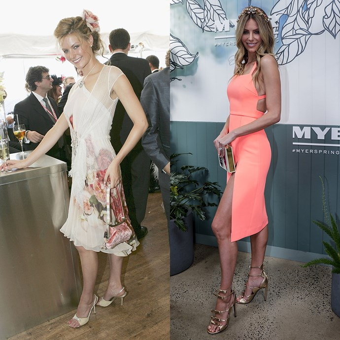 **Jennifer Hawkins** <br><br> At Derby Day in 2004 / At Myer's spring racing collection launch in 2017