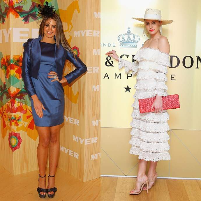 **Jesinta Franklin** <br><br> At the Melbourne Cup in 2010 / At Moët & Chandon Stakes Day in 2017