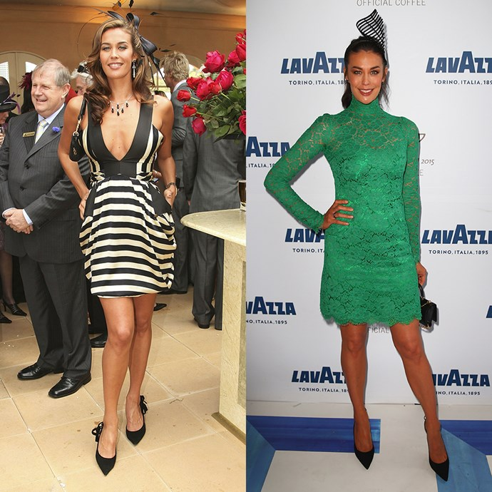 **Megan Gale** <br><br> At Derby Day in 2006 / At the Melbourne Cup in 2015