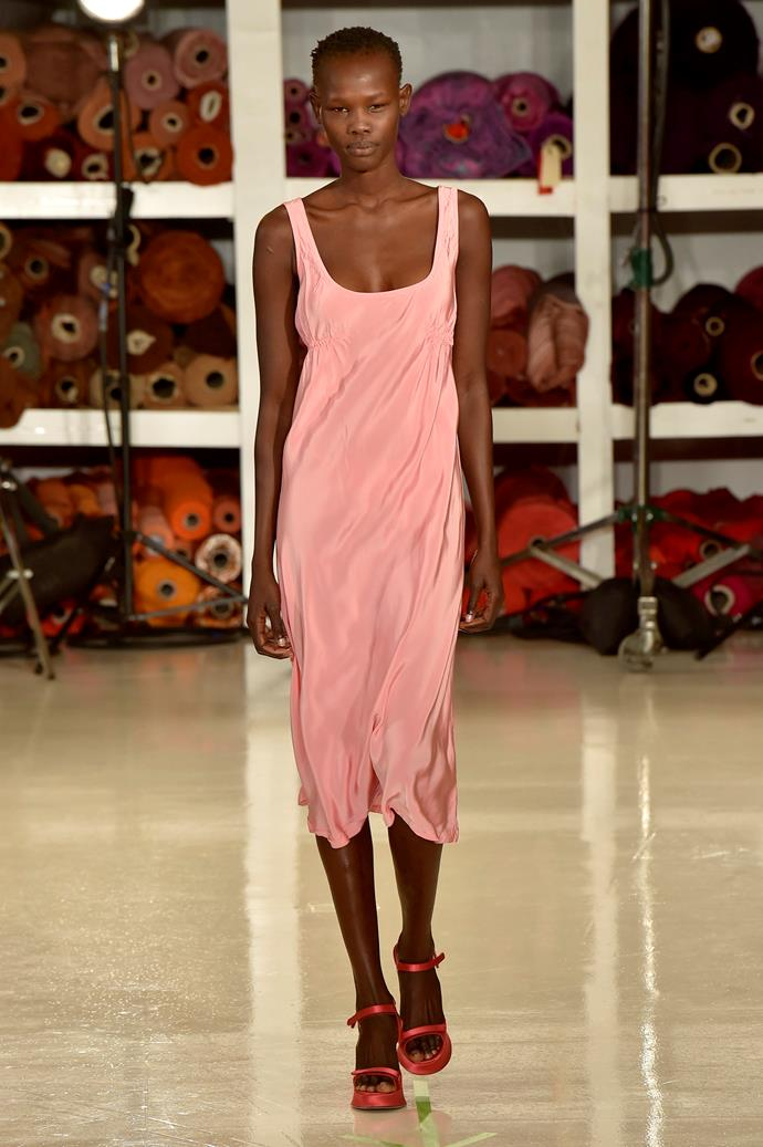 **Tickle me pink**  Baby pink proved the colour du jour this season, spotted everywhere from Marc Jacobs and Emilia Wickstead to Chanel, Moschino and Rodarte. Consider this fashion's *official* return to all things feminine.   Pictured: Sies Marjan spring summer '18
