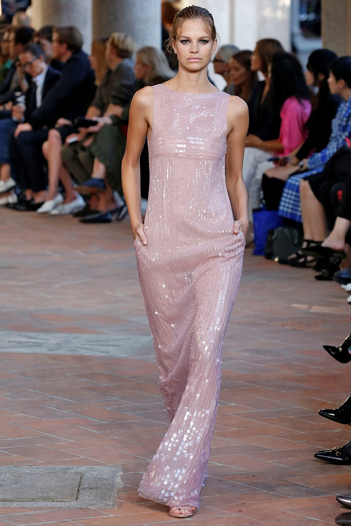 **Tickle me pink**  Baby pink proved the colour du jour this season, spotted everywhere from Marc Jacobs and Emilia Wickstead to Chanel, Moschino and Rodarte. Consider this fashion's *official* return to all things feminine.   Pictured: Alberta Ferretti spring summer '18