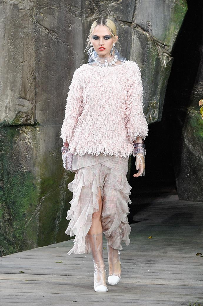 **Tickle me pink**  Baby pink proved the colour du jour this season, spotted everywhere from Marc Jacobs and Emilia Wickstead to Chanel, Moschino and Rodarte. Consider this fashion's *official* return to all things feminine.   Pictured: Chanel spring summer '18