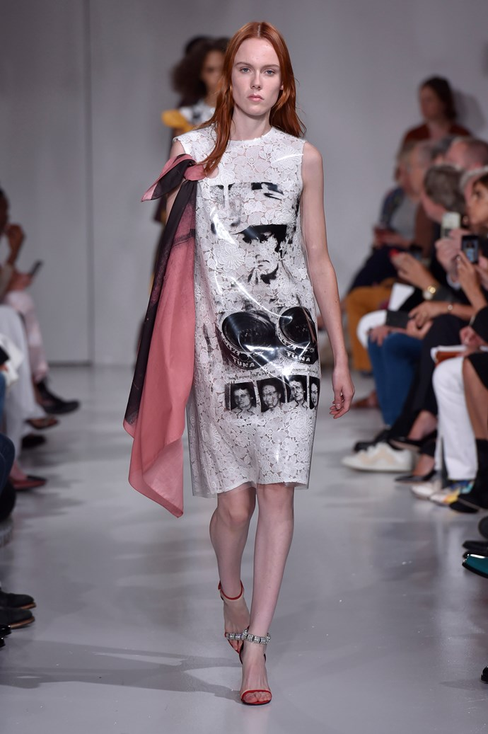 **Face off**  Faces featured prominently on garments sent down the runway this season. At Calvin Klein it was '50s-era cowboys, at Prada the pages of comic books were a recurring motif, and at Versace, Donatella revived the brand's iconic Warhol-esque Marilyn Monroe and James Dean prints in her touching tribute to her brother Gianni.   Pictured: Calvin Klein spring summer '18