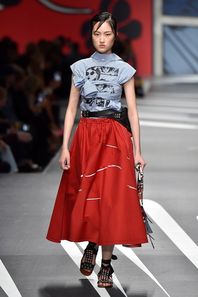 **Face off**  Faces featured prominently on garments sent down the runway this season. At Calvin Klein it was '50s-era cowboys, at Prada the pages of comic books were a recurring motif, and at Versace, Donatella revived the brand's iconic Warhol-esque Marilyn Monroe and James Dean prints in her touching tribute to her brother Gianni.   Pictured: Prada spring summer '18