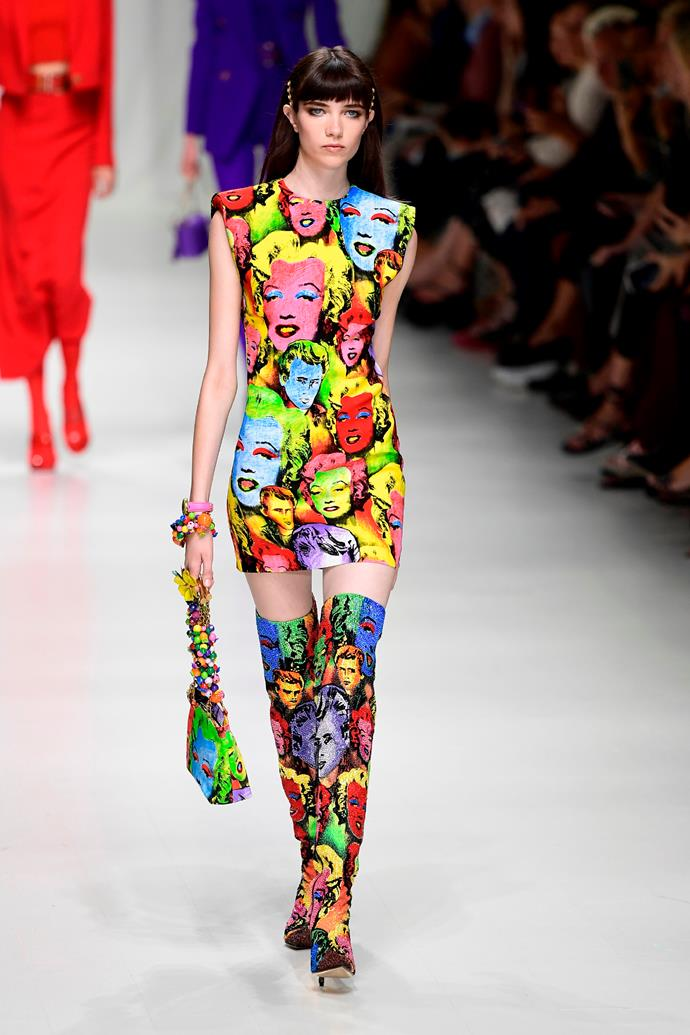 **Face off**  Faces featured prominently on garments sent down the runway this season. At Calvin Klein it was '50s-era cowboys, at Prada the pages of comic books were a recurring motif, and at Versace, Donatella revived the brand's iconic Warhol-esque Marilyn Monroe and James Dean prints in her touching tribute to her brother Gianni.    Pictured: Versace spring summer '18