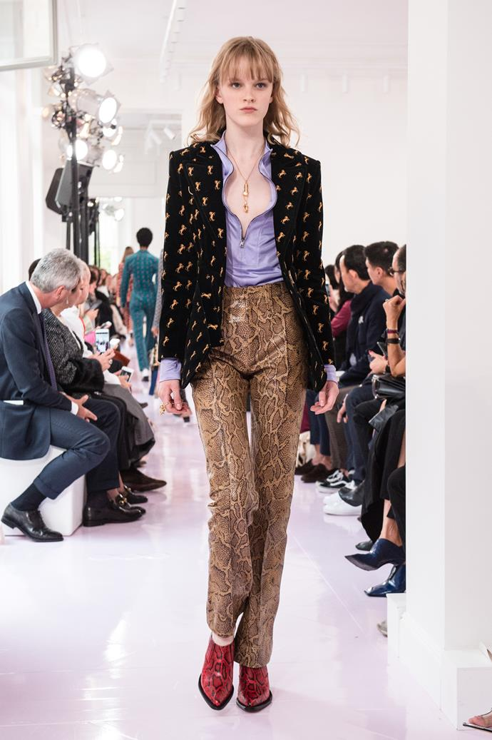 **Animal kingdom**  We'll level with you, the return of snakeskin, leopard print, zebra print, and all the various incarnations of 'animal print' this season is mildly terrifying. But if anyone was going to convince us to inject a tasteful touch of snakeskin into our existing wardrobes, it's Phoebe Philo.    Pictured: Chloè spring summer '18
