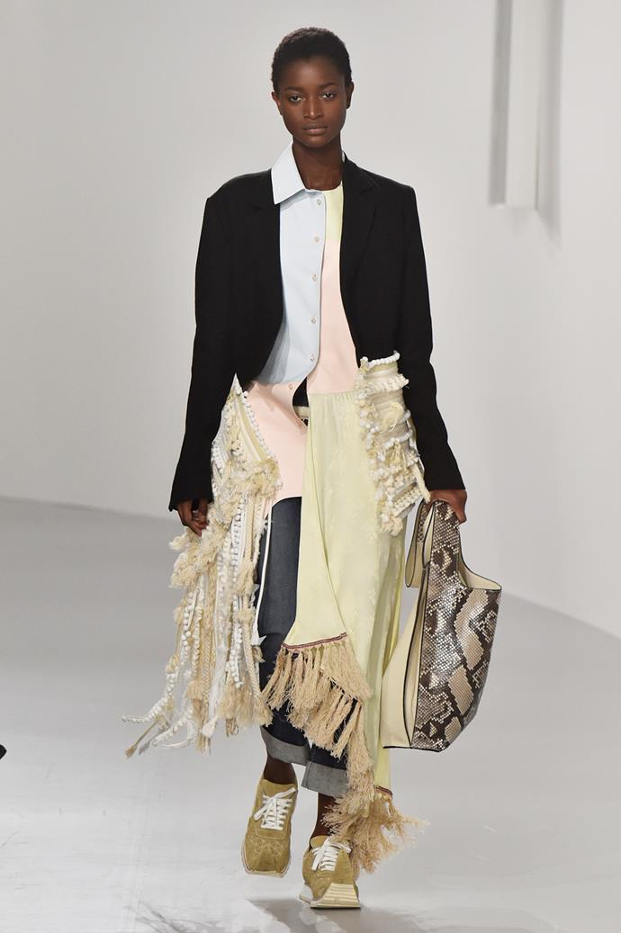 **Animal kingdom**  We'll level with you, the return of snakeskin, leopard print, zebra print, and all the various incarnations of 'animal print' this season is mildly terrifying. But if anyone was going to convince us to inject a tasteful touch of snakeskin into our existing wardrobes, it's Phoebe Philo.    Pictured: Loewe spring summer '18