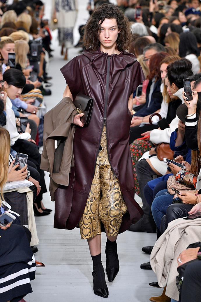 **Animal kingdom**  We'll level with you, the return of snakeskin, leopard print, zebra print, and all the various incarnations of 'animal print' this season is mildly terrifying. But if anyone was going to convince us to inject a tasteful touch of snakeskin into our existing wardrobes, it's Phoebe Philo.    Pictured: Céline spring summer '18