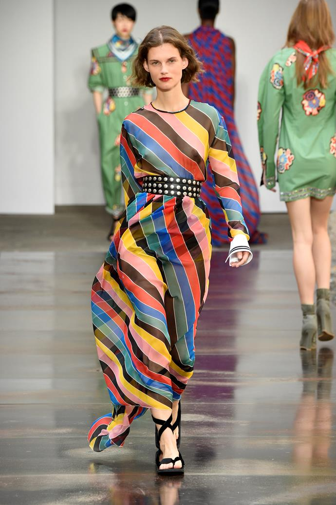 **Rainbow stylin'**  Designers were having *fun* on the runway this season, and nowhere was that more evident than in the return of rainbow. Minimalism is ~officially~ on its way out, and we're not devastated about it. (Also, #VoteYes).    Pictured: Philosophy di Lorenzo Serafini spring summer '18