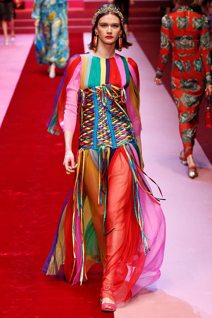 **Rainbow stylin'**  Designers were having *fun* on the runway this season, and nowhere was that more evident than in the return of rainbow. Minimalism is ~officially~ on its way out, and we're not devastated about it. (Also, #VoteYes).   Pictured: Dolce & Gabbana spring summer '18