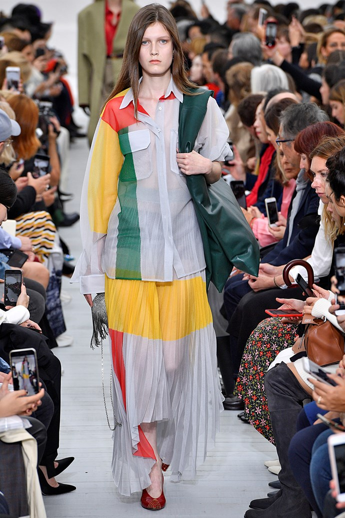 **Rainbow stylin'**  Designers were having *fun* on the runway this season, and nowhere was that more evident than in the return of rainbow. Minimalism is ~officially~ on its way out, and we're not devastated about it. (Also, #VoteYes).   Pictured: Céline spring summer '18
