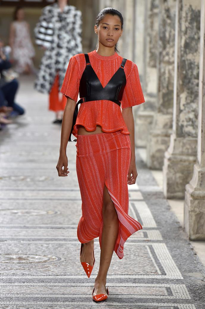 **Bust a move**  Bustiers have been teetering around for a few seasons now, but spring summer '18 was when they really hit critical mass. A bunch of designers, from the sexy (Balmain) to the avant-garde (Maison Margiela) embraced the trend, proving the silhouette is wearable, whatever your personal style.   Pictured: Proenza Schouler spring summer '18