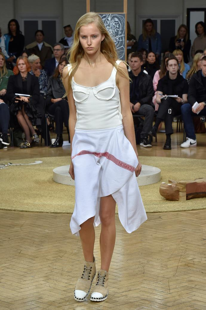 **Bust a move**  Bustiers have been teetering around for a few seasons now, but spring summer '18 was when they really hit critical mass. A bunch of designers, from the sexy (Balmain) to the avant-garde (Maison Margiela) embraced the trend, proving the silhouette is wearable, whatever your personal style.    Pictured: J.W.Anderson spring summer '18