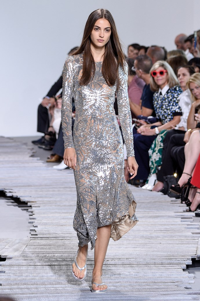 **Barbarella** Like you needed an excuse to channel the fashion exploits of '70s-era Jane Fonda. Metallics, silver and a general space age atmosphere reigned supreme this season, and we believe it has a *lot* to do with the *Blade Runner* reboot.    Pictured: Michael Kors Collection spring summer '18