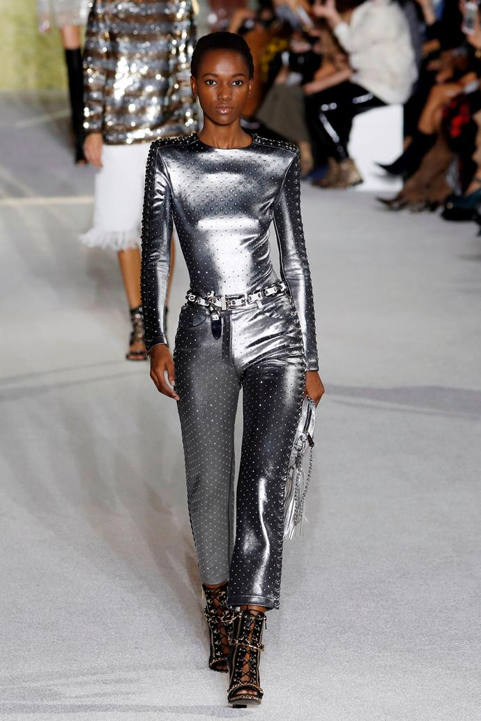 **Barbarella**  Like you needed an excuse to channel the fashion exploits of '70s-era Jane Fonda. Metallics, silver and a general space age atmosphere reigned supreme this season, and we believe it has a *lot* to do with the *Blade Runner* reboot.    Pictured: Balmain spring summer '18