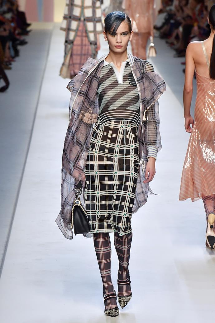 **Check yourself** Checks, in all their glorious incarnations (plaid! gingham! tartan!) were a major trend across all four cities this season. Your trusty checked blazer is likely to stay in style for a few more seasons to come, but if you wanted to branch out with a checked mini-dress or mid-length skirt, we officially approve.    Pictured: Fendi spring summer '18