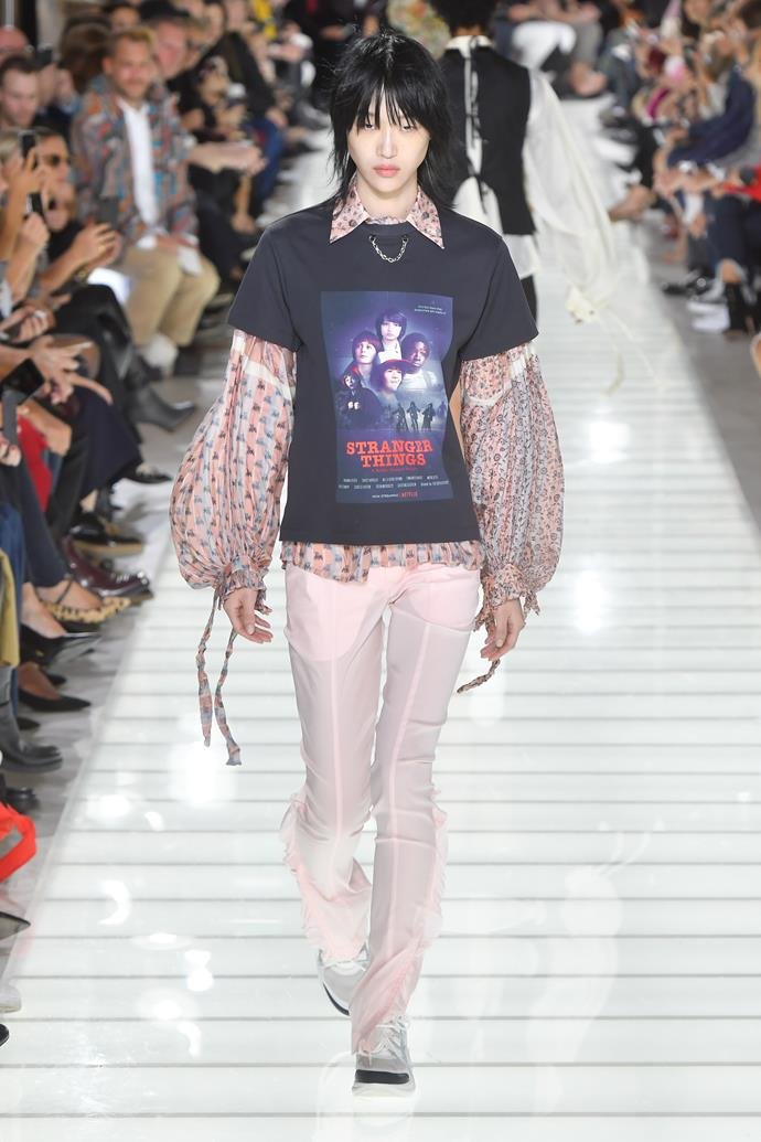 **Peasant blouses**  Spring summer '18 not only reconfirmed our eternal love for peasant blouses, it also offered a handful of ingenius ways to style them. Our favourite? Louis Vuitton's pairing of a flowy, floral blouse worn under a grunge-y vintage-inspired tee.   Pictured: Louis Vuitton spring summer '18