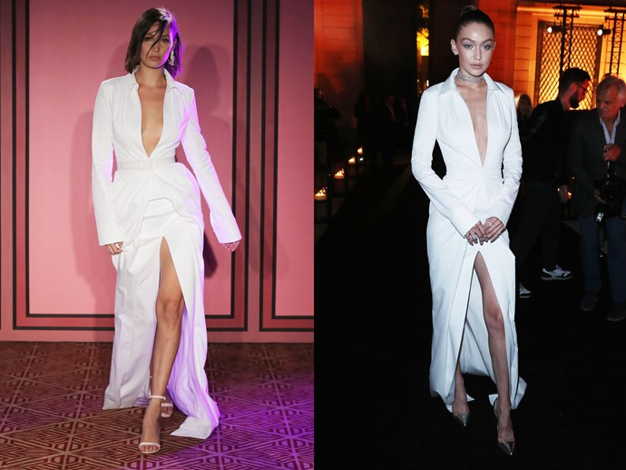 Gigi Hadid stepped out in Paris wearing a plunging ivory gown by Brandon Maxwell (with a split that goes for days). The same dress was first modelled by sister Bella less than a month ago on the runway at fashion week.