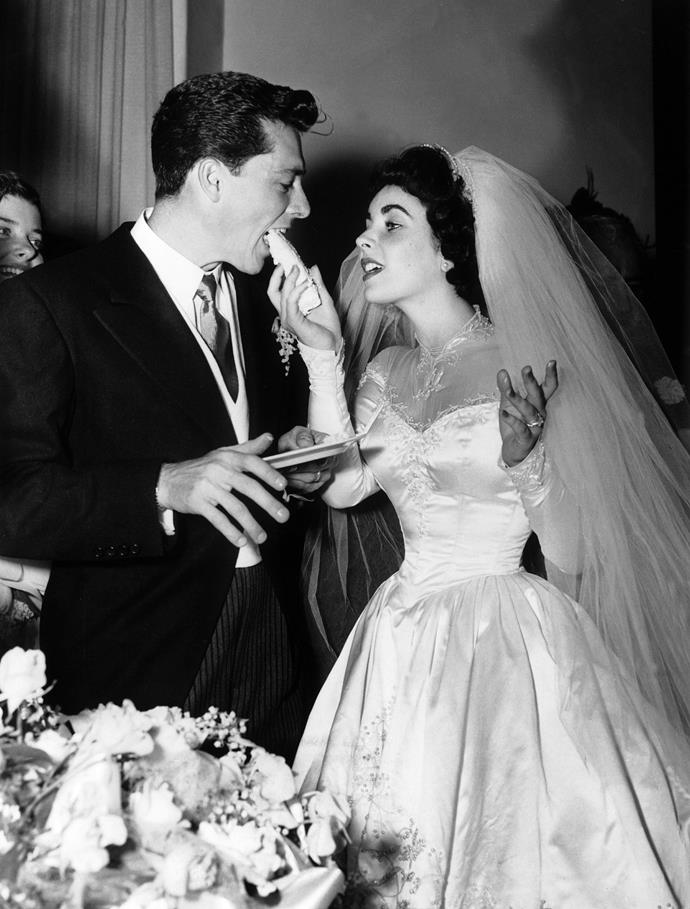 """**The couple:** Elizabeth Taylor and Conrad Hilton Jr.<br><br> **Their ages:** Taylor was 18, Hilton was 24.<br><br> **The story:** At just 18, Elizabeth Taylor wed Hilton hotel heir Conrad Hilton Jr. (Paris and Nicky Hilton's great-great-uncle!) in 1950. However Hilton's """"gambling, drinking, and abusive behaviour"""" ended the marriage after just eight months."""