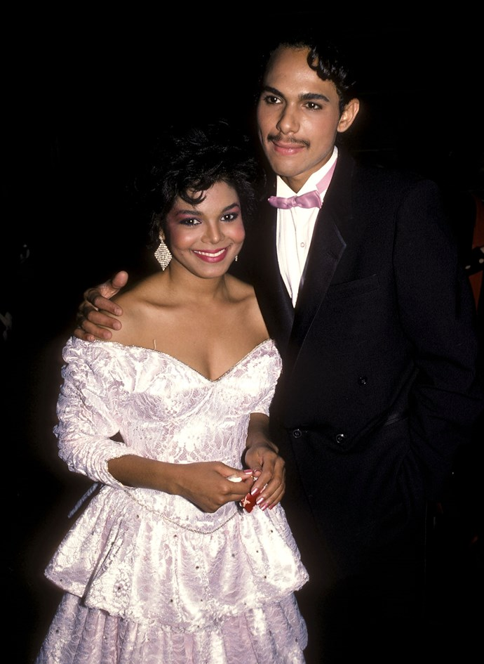 **The couple:** Janet Jackson and James DeBarge.<br><br> **Their ages:** Jackson was 18, DeBarge was 21.<br><br> **The story:** Janet Jackson and singer James DeBarge eloped in a secret ceremony in 1984, which didn't last. At the urging of a producer, Jackson got an annulment the next year.