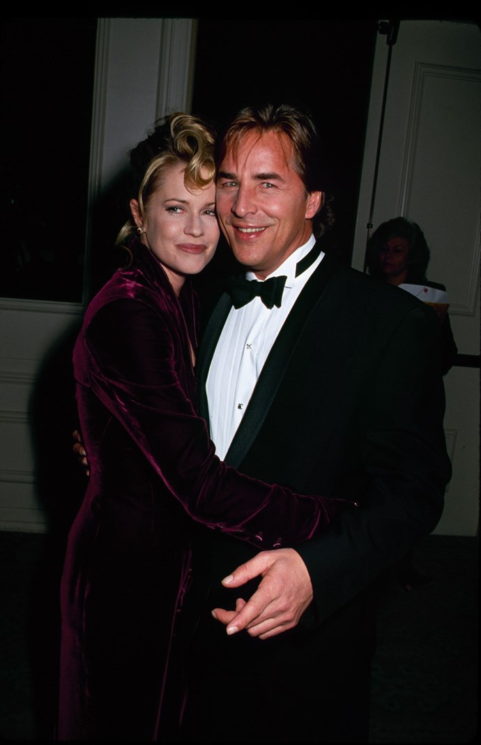 **The couple:** Melanie Griffith and Don Johnson.<br><br> **Their ages:** Griffith was 19, Johnson was 27.<br><br> **The story:** After they started dating when Griffith was just 14 (and Johnson, at 22, was her mother's co-star), the pair married in 1976. However, the marriage lasted just six months. Johnson and Griffith got married *again* in 1989, had daughter Dakota Johnson (now an actress), and divorced in 1994.