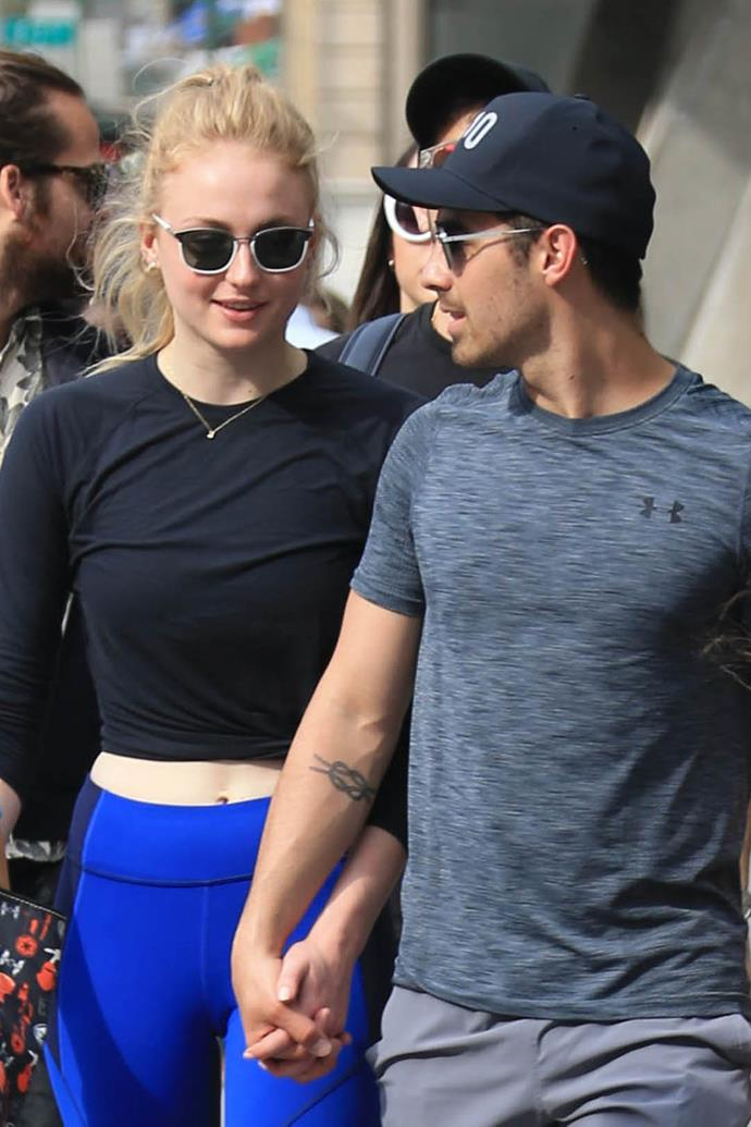 **The couple:** Sophie Turner and Joe Jonas.<br><br> **Their ages:** Turner is 21, Jonas is 28.<br><br> **The story:** Although the two are not married just yet (and there's no evidence that they're going to get married any time soon), we're slipping their engagement in. After 11 months of dating, Turner, 21, and Jonas, 28, announced their engagement on Instagram.
