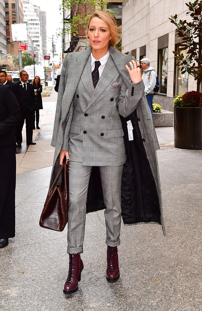 Blake Lively made a point for the three-piece suit in this plaid Ralph Lauren ensemble.