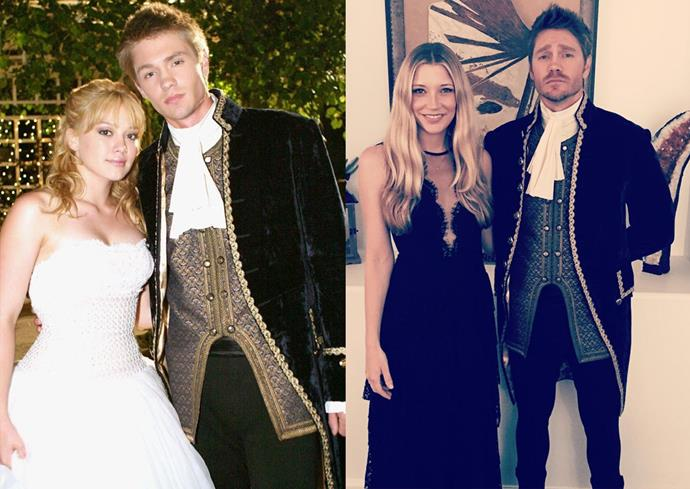 **Chad Michael Murray in his *A Cinderella Story* costume.**  Even though we're still mad at Austin Ames for not recognising Sam in her tiny, pathetic little mask (seriously, dude! You spoke to her multiple times! You could still see the rest of her face!!!!), we'll admit that Chad Michael Murray still looks the part of Prince Charming 13 years after *A Cinderella Story* came out. Props to CMM's wife Sarah Roemer for wrangling herself a Cinderella moment.