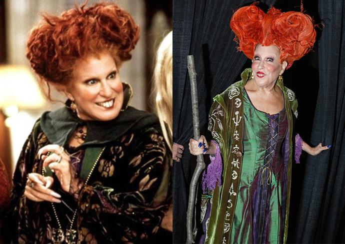 **Bette Midler in her *Hocus Pocus* costume.**  You know who makes a better Winifred Sanderson than Bette Midler? Better Midler with slightly larger hair. The actress revisited her 1993 *Hocus Pocus* role at a costume party in 2016.