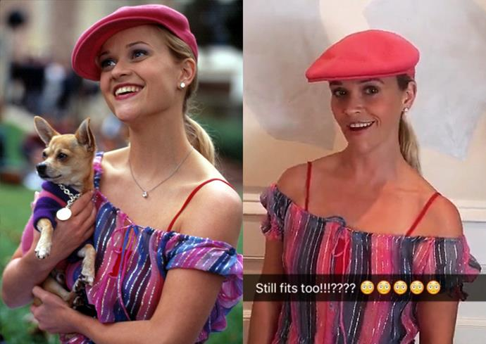 **Reese Witherspoon in her *Legally Blonde* outfit.**  Whoever said orange was the new pink was seriously disturbed, and whoever said Reese Witherspoon has aged a single day was also similarly disturbed. Witherspoon proved as much when she dug this outfit out for *Legally Blonde's* 15th anniversary.