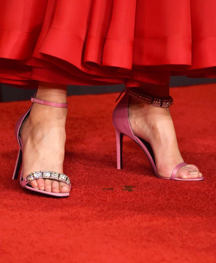 Nicole Kidman rocked Calvin Klein's mismatched heels on the red carpet at the Emmys this year.
