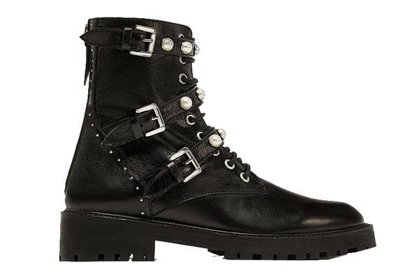 "Boots, $155 (approx.) at [Zara](https://www.zara.com/us/en/leather-ankle-boots-with-faux-pearls-p16132201.html|target=""_blank""