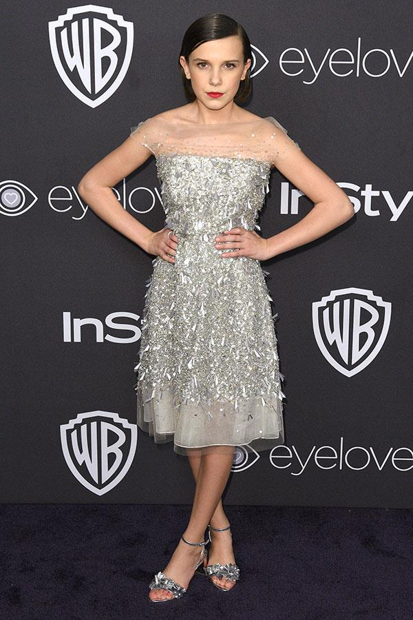 Wearing Jenny Packham at the Golden Globes After Party on 8 January 2017.