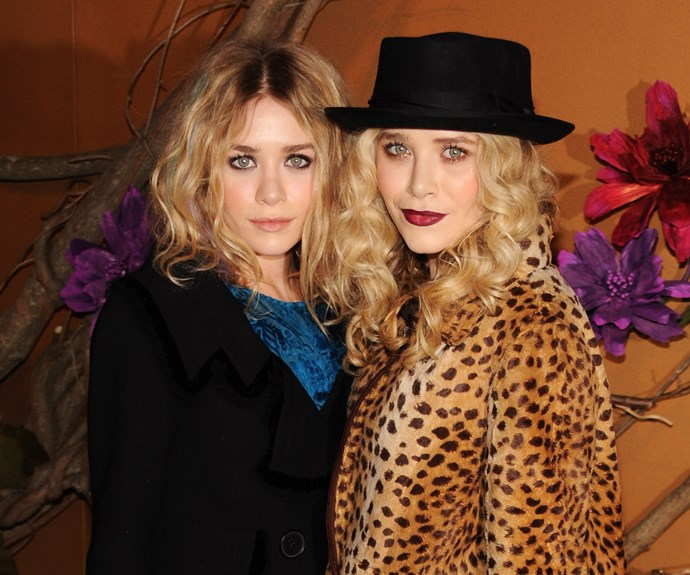 Both Mary Kate and Ashley channel Kate Moss with tousled hair, a wine lip and a heavy dark eye.