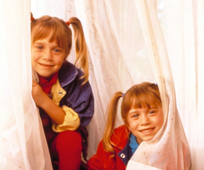 The classic Olsen twin pigtails that were the go-to throughout their childhood.
