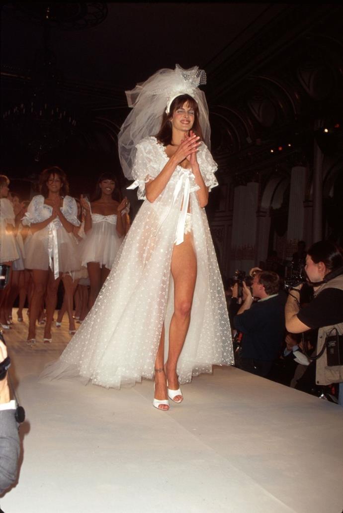 **Stephanie Seymour, 1996** <br><br> Sexy bridal wear!