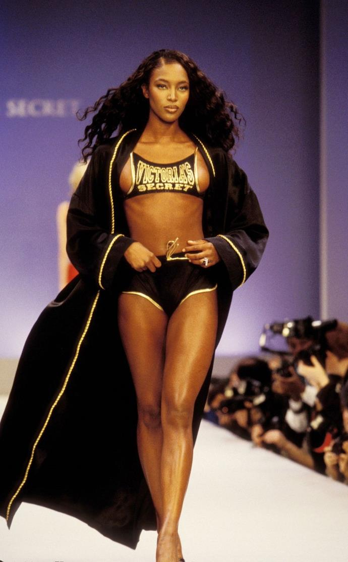 **Naomi Campbell, 1997** <br><br> Naomi channelled a boxer in this not-so-practical bra (and robe!).