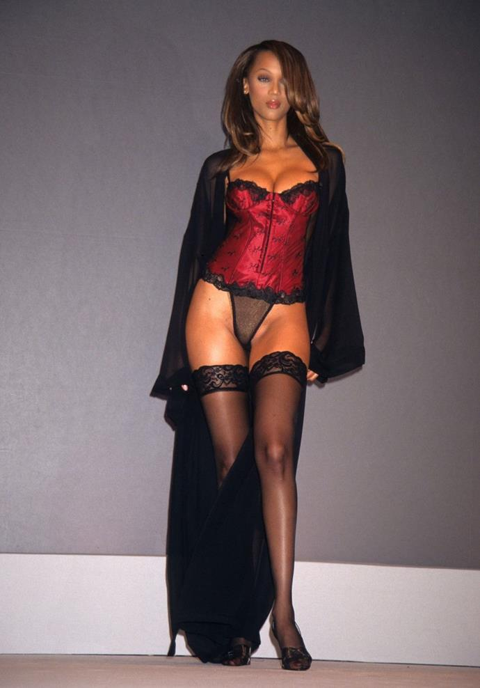 **Tyra Banks, 1997** <br><br> Tyra made her Angel debut on the runway in 1997.