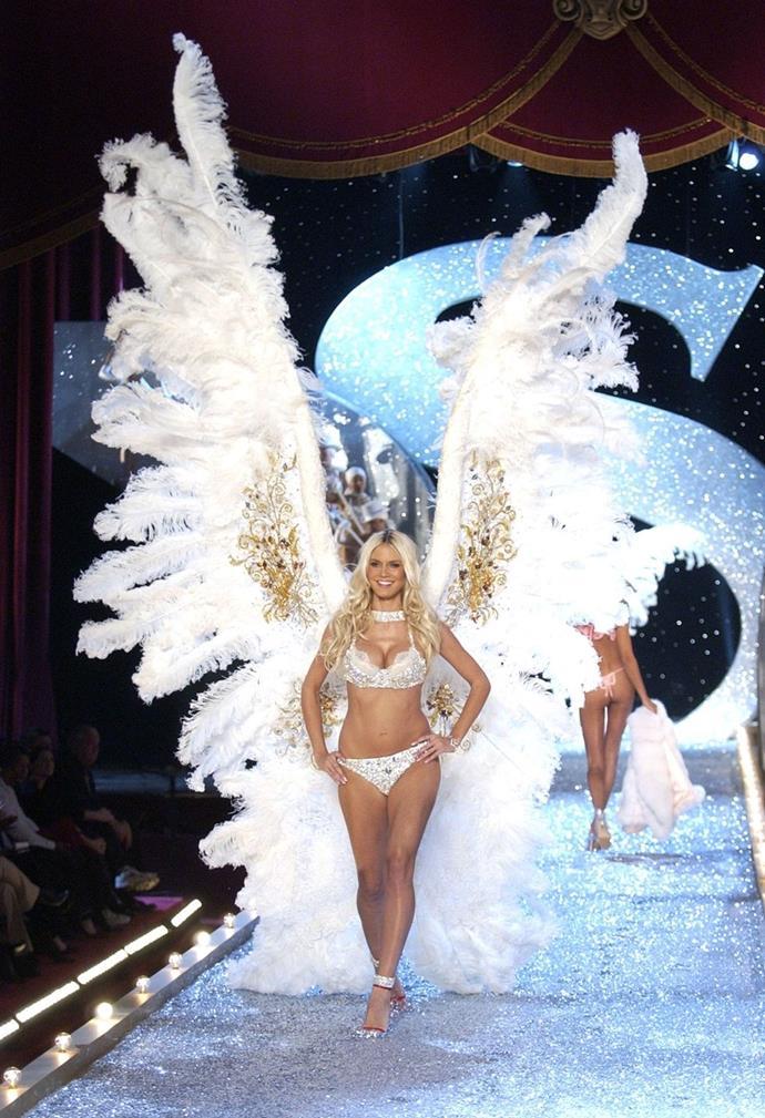 **Heidi Klum, 2003** <br><br> Heidi walked the runway in some of the hugest angel wings ever.