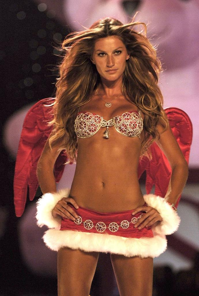 "**Gisele Bündchen, 2005** <br><br> Gisele holds the record for modelling the most expensive fantasy bra ever: the $15 million ""Red Hot Fantasy Bra"" in 2000, which featured even more bling than this spicy red number she sported in 2005."