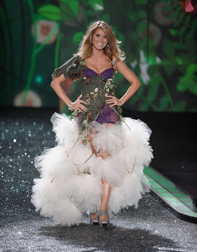 **Heidi Klum, 2009** <br><br> Heidi Klum walked the VS runway just five (five!) weeks after giving birth to her fourth child.
