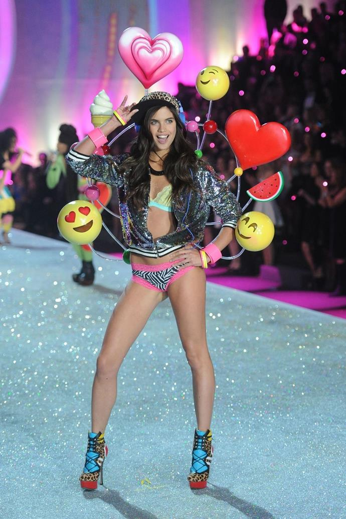**Sara Sampaio, 2013** <br><br> Of course emojis would make it on the runway.